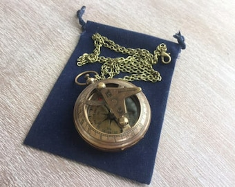 "Antique Finish Brass Sundial Compass w/ Optional 27"" Chain & Velour Bag - Old Vintage Pocket Style Nautical Necklace - Christmas Gift"