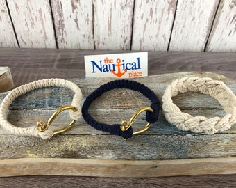 Hand Tied Sailor Knot Bracelet w/ Brass Shackle - Braided Nautical Jewelry - Natural White or Navy Blue