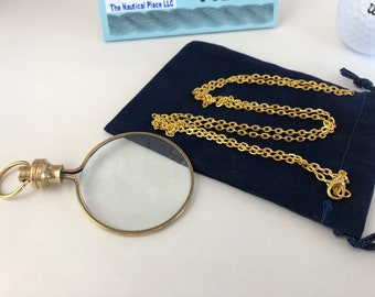 "Brass Magnifying Glass w/ Optional 27"" Chain & Bag - Round Magnifier Monocle Necklace - Old Vintage Antique Style Mini Pendant -"