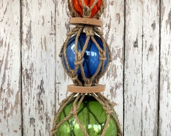 3 Glass Fishing Floats On Rope - Fish Net Buoy Ball - Nautical Beach Decor - Red, Blue, Green w/ Rope Netting & Cork