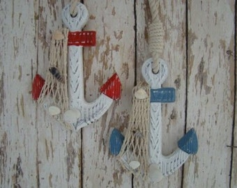 2 Wood Anchor Wall Hooks ~ Red & Blue ~ w/ Net and Seashells ~ Nautical Decor