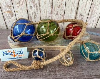 6 Glass Fishing Floats On Rope - Fish Net Buoy Ball - Nautical Beach Decor - Red, Blue, Green, Aqua, Clear w/ Jute Rope Netting