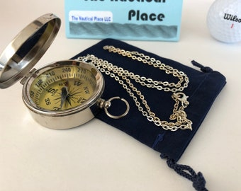 "Silver Finish Brass Compass w/ Lid - w/ Optional 27"" Chain & Bag - Old Vintage Working Pocket Mini Style - Nautical - Christmas Gift"