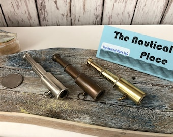 "Brass Pocket Telescope - Polished, Antique, or Silver Finish w/ Optional 27"" Chain & Bag - Mini Necklace, Keychain - Nautical Christmas Gift"