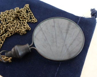 "Antique Finish Brass Magnifying Glass w/ 27"" Chain & Velour Bag - Round Magnifier - Necklace Pendant Charm -Old Vintage Style -Nautical Gift"