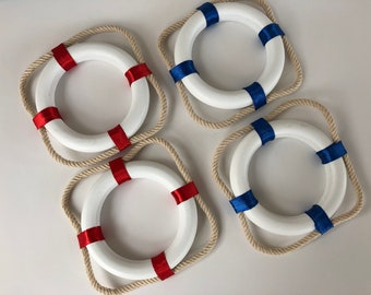 2 Nautical Lifering Buoys ~ Red + White Or Blue + White ~ Life Ring Preserver Float - Christmas Tree Ornament
