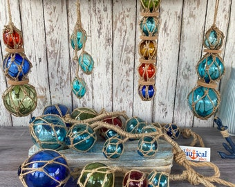 Glass Fishing Floats On Rope - Fish Net Buoy Ball - Nautical Beach Decor - Red, Blue, Green, Aqua, Clear w/ Jute Rope Netting