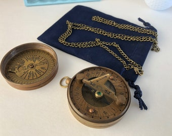 "Brass Sundial Compass w/ Screw On Lid - Antique Finish w/ Optional 27"" Chain & Velour Bag - Old Vintage Pocket Style - Nautical Gift For Him"