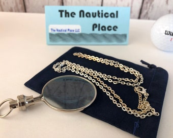 "Silver Finish Brass Magnifying Glass w/ Optional 27"" Chain & Bag - Round Magnifier Monocle - Vintage Antique Style Necklace - Nautical"