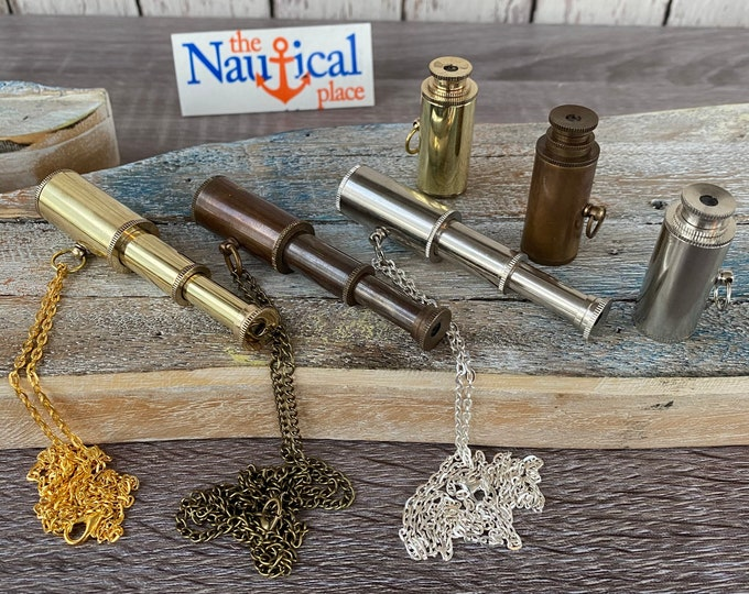 "Featured listing image: Brass Pocket Telescope - Polished, Antique, or Silver Finish w/ Optional 27"" Chain & Bag - Mini Necklace, Keychain - Nautical Groomsmen Gift"