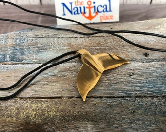 Solid Brass Whales Tail Necklace Pendant w/ Cord - Old Vintage Antique Style Jewelry - Nautical Charm - Christmas Gift