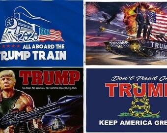 3'x5' Printed Trump Flag - Make America Great - Trump Train, Tank, Rambo, Tread - Elect Donald For USA President - US