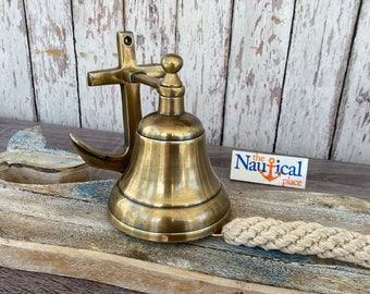 Anchor Ship Bell w/ Rope Lanyard - Antique Brass Finish - Nautical Maritime Wall Decor