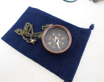 "Antique Finish Brass Pocket Compass w/ 27"" Chain & Velour Bag - Necklace Pendant - Old Vintage Nautical Style - Christmas Gift"