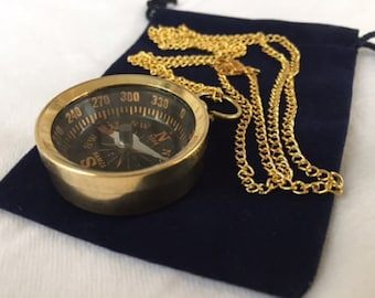 "Brass Pocket Compass w/ Optional 27"" Chain & Bag - Nautical Necklace Pendant Charm - Old Vintage Antique Style - Christmas Gift"