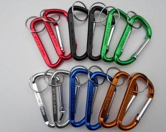 "3"" Carabiner Clips - Bulk Lot of 12 - Spring Belt Snap Keychain - w/ Keyring Key Ring - Red, Black, Green, Silver, Gold, Blue"