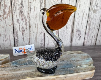 Glass Pelican w/ Fish Figurine / Hand Blown - Nautical Paperweight -  Coastal, Tropical, Beach Decor - Tabletop Decorations