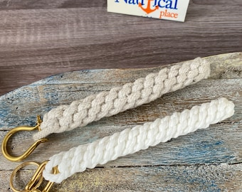Rope Bell Pull w/ Brass Shackle - Braided Knot Lanyard - Hand Tied  Sailor Bellpull - White or Natural