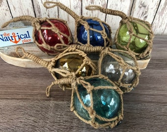 "6 - 3"" Glass Fishing Floats- Nautical Coastal Beach Fish Net Buoy Decor - Red, Blue, Green, Amber, Clear, Aqua Ball w/ Rope Netting"