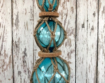 3 Aqua Glass Fishing Floats On Rope - Light Blue, Turquoise Buoy Balls w/ Rope Netting & Cork - Nautical Decor - Coastal Beach Decorations