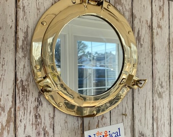 "11"" Brass Porthole Mirror - Polished Finish - Nautical Maritime Wall Decor - Window"
