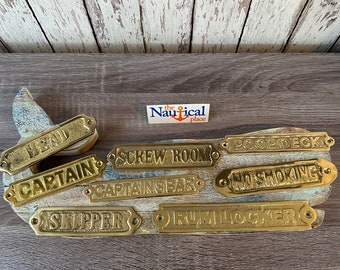 Nautical Door Signs - Solid Brass - Poop Deck, Head, Screw Room, Captains Bar, Skipper -  Nautical Wall Plaque - Christmas Gift