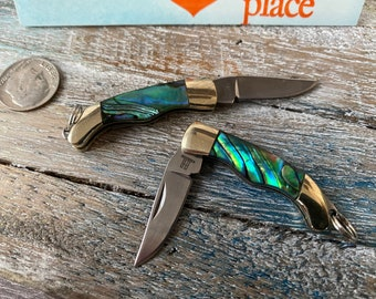 Mini Pocket Knife Keychain w/ Abalone Handle - Working Folding Knife Necklace - Small Miniature Knives - Greenish Blue - Groomsmen Gift
