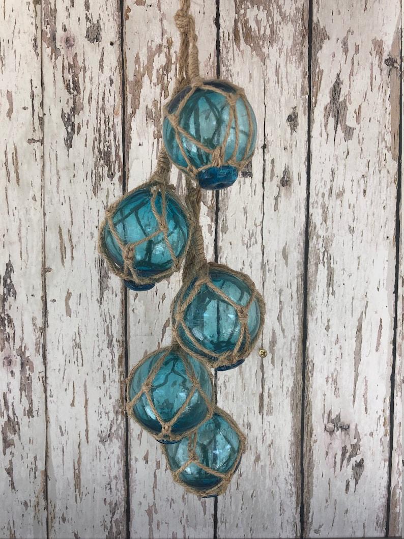 "5 2/"" Aqua Glass Fishing Floats On Rope ~Nautical Fish Net Decor ~Light Blue"
