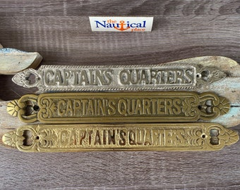 Nautical Door Signs - Captain's Quarters - Solid Brass, Antique, or Chrome Finish - Nautical Decor Wall Plaque - Boat Cabin
