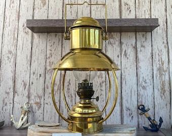 "16"" Vintage Brass Hanging Ship Lantern - Polished Finish - Nautical Oil Lamps - Boat Light - Nautical Maritime Decor"