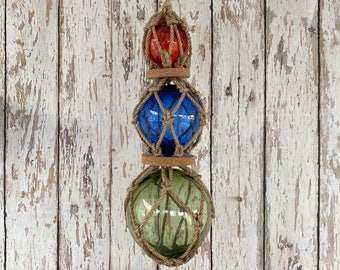 3 Glass Fishing Floats On Rope - Fish Net Buoy Ball - Nautical Beach Decor - Red, Blue, Green w/ Rope Netting & Cork
