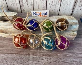 "8 - 2"" Glass Fishing Floats- Nautical Fish Net Buoy Decor - Purple, Orange, Blue, Aqua, Red, Green Ball w/ Rope Netting"