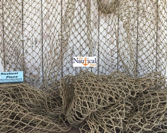 Old Used Fishing Net - 5 ft x 5 ft Knotted - Vintage Fish Netting - Fabric for Crafts & Tables - Authentic Nautical Decor