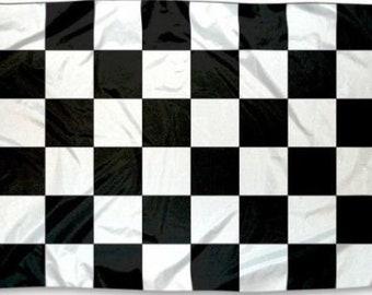 Checkered Flag w/ Grommets - Black & White - 3ft x 5ft - Nascar Racing, Racecar Speedway