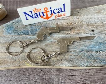 45 Pistol or Derringer Keychain Knife - Replica Gun Pocket Knife - Small Working Mini Folding Knives