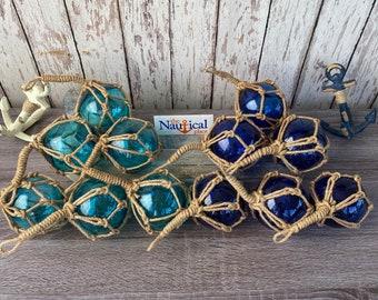 "3"" Aqua or Cobalt Blue Glass Fishing Floats- Nautical Decor - Fish Net Buoy - Light or Dark Blue Ball w/ Rope Netting"