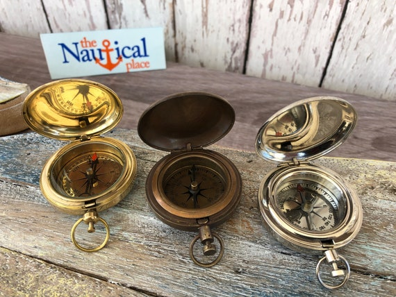 Vintage Brass Dalvey Style Compass with Lid Old Nautical Pocket Necklace