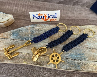 Rope Bell Pull w/ Brass Ship Wheel, Anchor, Propeller - Braided Knot Lanyard Key Chain - Hand Tied Sailor Bellpull - Navy Blue Keychain