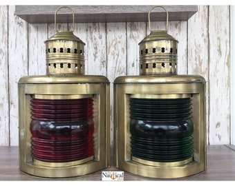 "14"" Antique Brass Finish Port & Starboard Lanterns - Ship Oil Lamp - Nautical Lights"