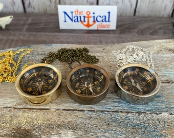"""Brass Pocket Compass w/ Optional 27"""" Chain & Bag - Gold, Silver, Antique Finish - Nautical Necklace Pendant Charm - Old Vintage Style"""