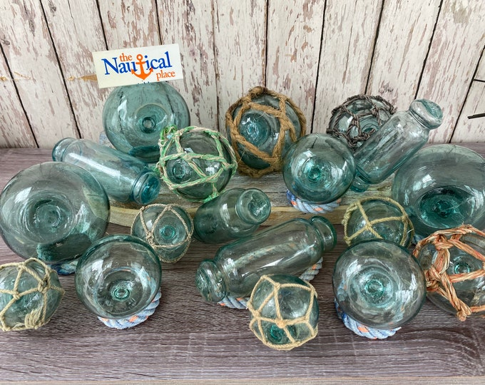 """Featured listing image: 2.5"""" - 4"""" Japanese Glass Fishing Floats - Old Fish Net Buoy - Vintage Antique Japan Ball - Aqua, Green, Blue Shades - Nautical Decor -Netted"""