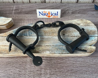 """12"""" Iron Hand Cuffs and Key - Old Vintage Style Shackles - Police Jailer Handcuffs - Antique Medieval Cosplay Prop"""