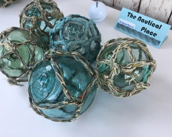 """3"""" - 3.5"""" Japanese Glass Fishing Floats - Lot of 5 - Authentic Old Japan Ball - Vintage Fish Net Buoy - Aqua, Green & Blue Shades - Netted"""