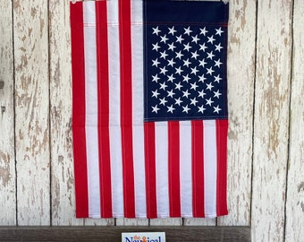 """American Garden Flag - Embroidered - 12"""" x 18"""" Nylon w/ Sleeve - Sewn Stars - United States of America - Small USA Banner - Handmade"""