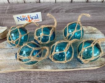 "2"" Aqua Glass Fishing Floats- Light Blue Turquoise Nautical Beach Decor - Fish Net Buoy Ball w/ Rope Netting - Christmas Ornaments"