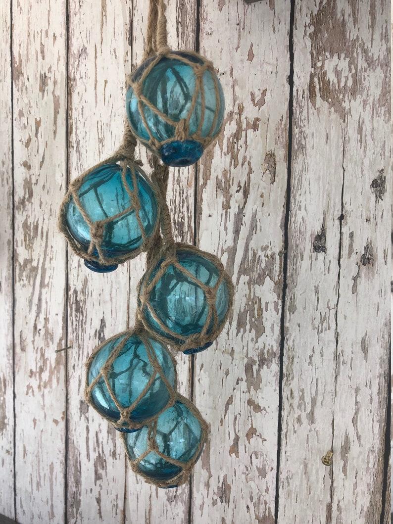 5 Turquoise Aqua Glass Bottles On Rope ~Nautical Fish Net Decor ~ Light Blue