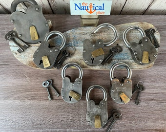 Old Style Iron Lock and Keys w/ Brass Keyhole Cover - Vintage Antique Rustic Style - Police Jailer Padlock - Royal Navy, Captain, Titanic