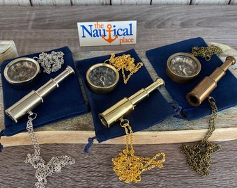 "Brass Telescope & Compass Gift Set w/ Velour Bag - w/ Optional 27"" Chains - Miniature Nautical Necklace Pocket Pendant - Groomsmen Wedding"