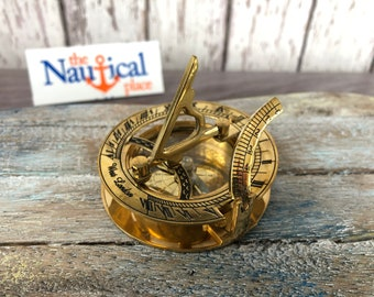Brass Sundial Desk Compass - Old Vintage Antique Pocket Style - Nautical Maritime - Christmas Gift