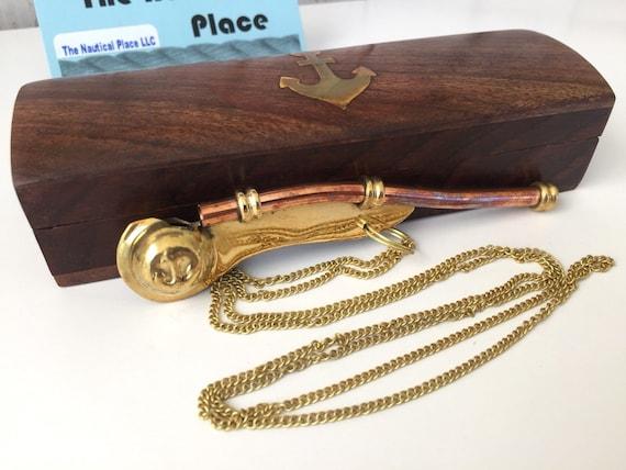 Brass US Seller!!! Copper Boatswain Whistle w// Box ~ Bosun Call Pipe